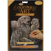 "Cuccioli & foglia d'oro incisione Art Kit 8 ""X 10""-Golden Retriever"