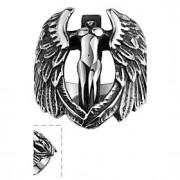 moda individ ual asas nenhum dos homens de pedra decorativos de anel de aço inoxidável anjo cruz (preto) (1pc)
