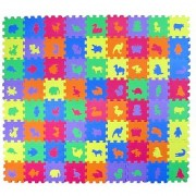 Animal Zoo Educational Foam Puzzle Floor Mat for Kids + 72 Pieces 6 x6 Squares Blocks Covers 12 sq ft