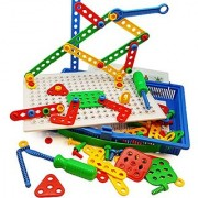 Construction Building Toys Tool Kit by Skoolzy - Complete Preschool Screwing Tools Set - Boys and Girl Builder Shapes To