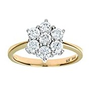 Citerna 9 ct Yellow Gold Cubic Zirconia Cluster Ring - Size J