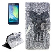 Elephant Pattern Colored Drawing Leather Case with Holder & Card Slots & Wallet for Samsung Galaxy A3 / A300F