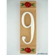 Numero civico ceramica con fiore rosso nfr9