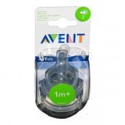 Avent Tétine 1m+ Vert Débit Lent - Natural - Vitesse 2 - x2