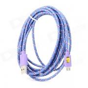 USB Data Transmission Nylon Cable for Google Nexus 7 / Nexus 7 II - Purple (3m)