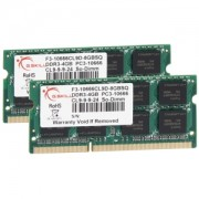Memorie G.Skill SO-DIMM 8GB (2x4GB) DDR3 1333MHz PC3-10666 CL 9 1.50V, Dual Channel Kit, F3-10666CL9D-8GBSQ