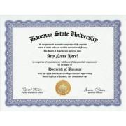 Banana Bananas Degree: Custom Gag Diploma Doctorate Certificate (Funny Customized Joke Gift - Novelty Item)