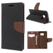 Korean Mercury Fancy Diary Wallet Case for Samsung Galaxy S6 Edge Plus Brown