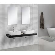 Waschtischkonsole CADENA 150 x 50 cm, Echtholz (hochglanz-schwarz)