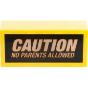 """Lampada con messaggio """"Caution - no parents allowed"""""""