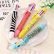 Visual multifuncional de oito cores caneta esferográfica bonito multicolor caneta esferográfica de cor pressionado cartucho de tinta 8