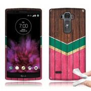 LG G Flex 2 LS996 Teal Mint Hot Pink Wood Chevron TPU Skin Cover