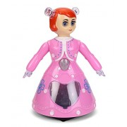 A & D Collections 3D Lights Dancing Princess (Pink) New Arrival Best Selling Premium Quality Lowest Price Cute, Pretty Musical Toy like Barbie Doll for Baby Girls, Battery Operated Robot, Rotates 360 Degree, Sways Hands & Head, Gives Pleasant Music, Light