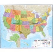 Wandkaart USA - Verenigde Staten Politiek, 120 x 100 cm | Maps International