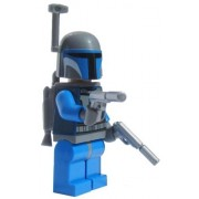 LEGO Star Wars Clone Wars Minifigure Mandalorian (Jango Fett) with dual SILVER Guns Helmet Rangefinder and Rocket Jetpack (Comes exactly as shown)
