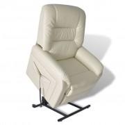 vidaXL Повдигащ се електрически фотьойл с регулируема облегалка, цвят бял