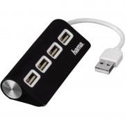 Hama USB 2.0 Hub, 4 Port, Farbe: schwarz
