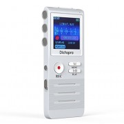 Digital Voice Activated Recorder by Dictopro, Double Microphone HD Recording, 8GB Memory, Noise Cancelling, Premium Quality Metal Casing Dictaphone