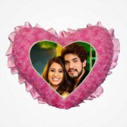 Pink Heart Love Frill Cushion With Personalized Photo