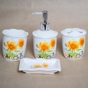 Set de baie cu 4 accesorii, model floarea soarelui