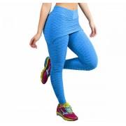 Calça Legging Fitness Tecido Bolha - com Tapa Bumbum Rosa Preta ou Azul - KSF225
