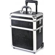 Hairway Kadeřnický kufr na kolečkách Hairway - 3-dílný, černý (vzor 1) (28588) + DÁREK ZDARMA