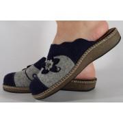 Papuci de casa gri cu bleumarin din lana dama/dame/femei (cod ESTEL)