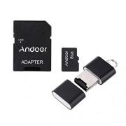 Andoer 8GB Classe 10 Memory Card TF Card + Adattatore + Lettore di Schede Flash USB per la Macchina Fotografica dell'automobile della Macchina Fotografica del Telefono delle Cellule Tabella PC GPS