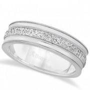 Carved Men's Wedding Ring Diamond Cut Band 14k White Gold (7 mm)