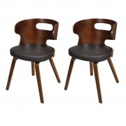 vidaXL Conjunto de 2 cadeiras estrutura madeira, curvas Marrom