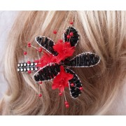 Black & Red Fascinator Crystal Diamonties Stylish and Chic Made in the UK