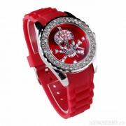 Stylové hodinky s lebkou vykládané kamínky LSW004 červené