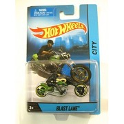 2014 Hot Wheels Hw City Blast Lane Motorcycle with Rider Green Die-cast Collectible, Chopper Motorcycle by Mattel