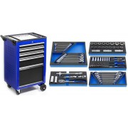 Werkstattwagen bestückt, rollbar blau pulverbeschichtet, bestückt 950 x 600 x 400 mm