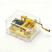 Acrylic Music Box Tune Is Castle in the Sky Hand Crank Gold-plating Movement Musical Box