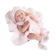 Berenguer All-Vinyl La Newborn Doll in pink knit outfit with blanket. REAL GIRL!