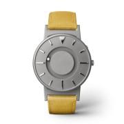Ceas de mână tactil unisex EONE Bradley cu curea galbenă de piele acoperită cu textil