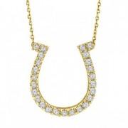 Diamond Horseshoe Pendant Necklace 14k Yellow Gold (0.26ct)