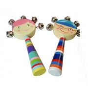 Set Of 2 Lovely Baby Rattle Drums Sound Toys Rattles Bell(Random Pattern)
