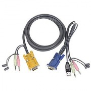 IOGEAR Bonded All-in-One USB KVM Cable Keyboard Mouse Video Audio Cable 3 Feet G2L5301U