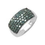 Inel argint 925 cu diamante albastre