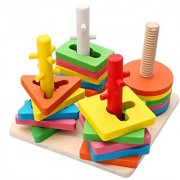 Joyeee Creative Wooden Color and Shape Geometric Sorting Board #2 - Stack & Sort Puzzle Toys - Perfect Christmas Gift Id
