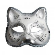 Cat Masquerade Mask - White And Silver