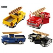 Set of 4: 5 1955 Chevy Stepside Pickup with Surfboard 1:32 Scale (Black/Blue/Red/Yellow)