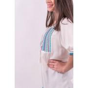 Bluză albă cu broderie și șnur cu canaf