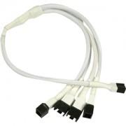 Cablu adaptor Nanoxia 3-pini Fan la 4x 3-pini, 30cm, white/black