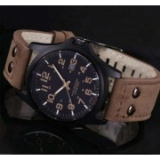 Hot sale New Mens Fashion Sport Watches Men Military Leather High quality Quartz Wrist Watch brown color free shipping