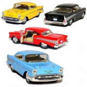 Set of 4: 1957 Chevy Bel Air Coupe 1:40 Scale (Black/Blue/Red/Yellow)