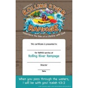 Vacation Bible School (Vbs) 2018 Rolling River Rampage Leader Recognition Certificates (Pkg of 12): Experience the Ride of a Lifetime with God!