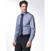 Walbusch Extraglatt-Hemd Gitterkaro Blau 44